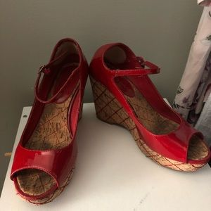 ZigiNY red patent leather Mary Jane Wedges- 8.5
